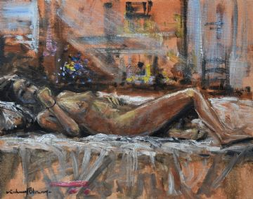 Richard Blowey Original Oil Painting Portrait Of A Nude Woman Lying